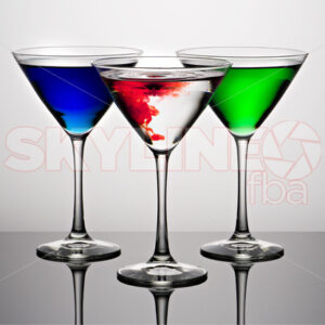 RGB Martini Glasses with Water Droplet - Skyline FBA