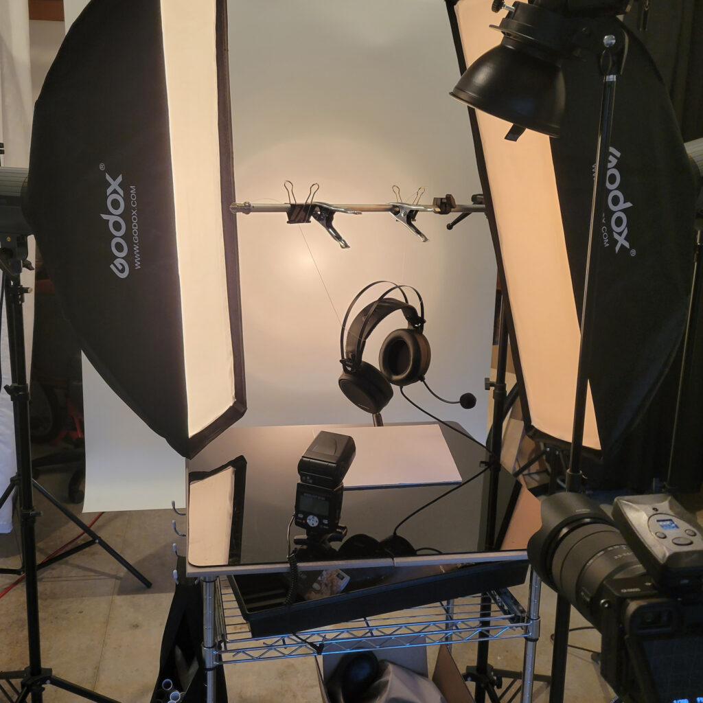 Picture of product photography behind the scenes setup